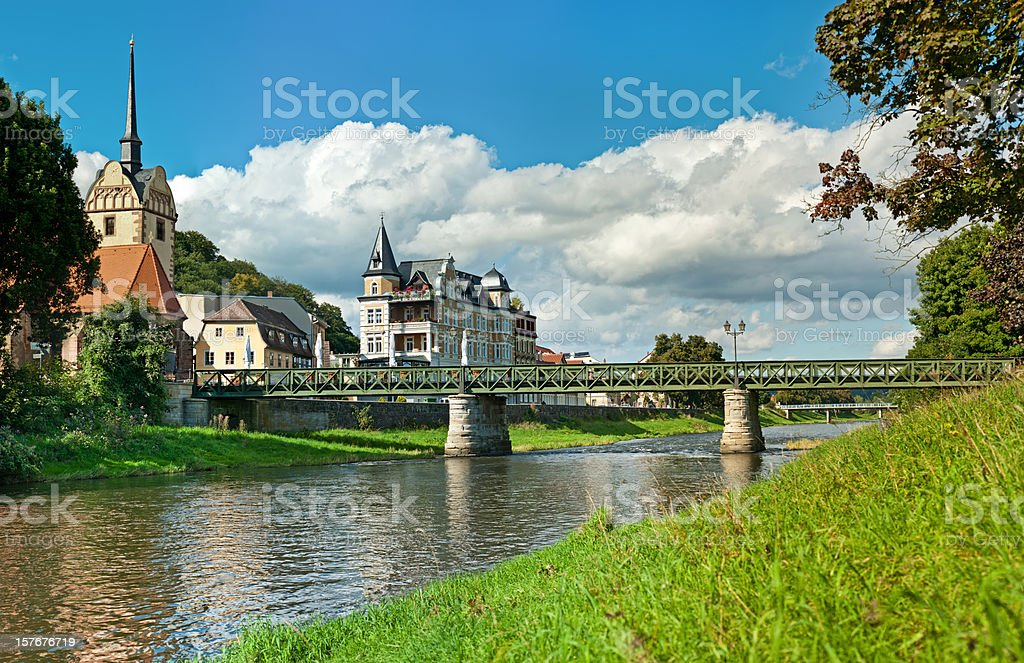 city Gera, Germany. church and bridge in district Untermhaus stock photo