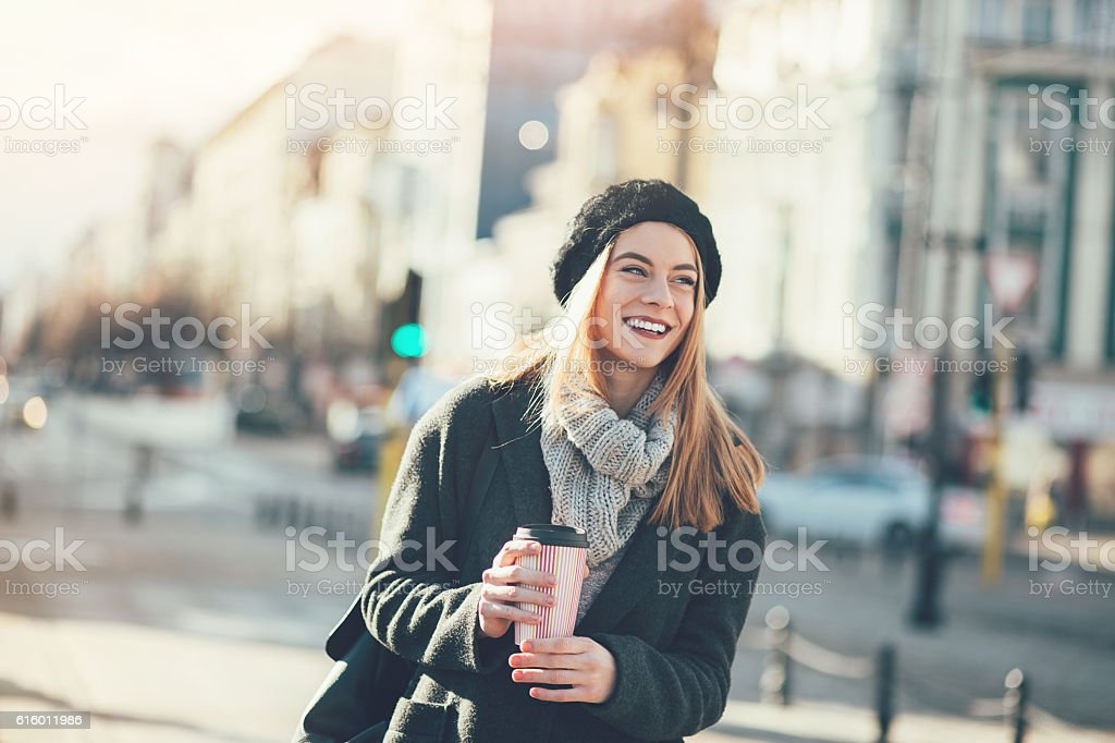 City girl outdoors in the winter stock photo