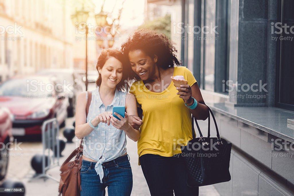 City girls on a leisure walk stock photo