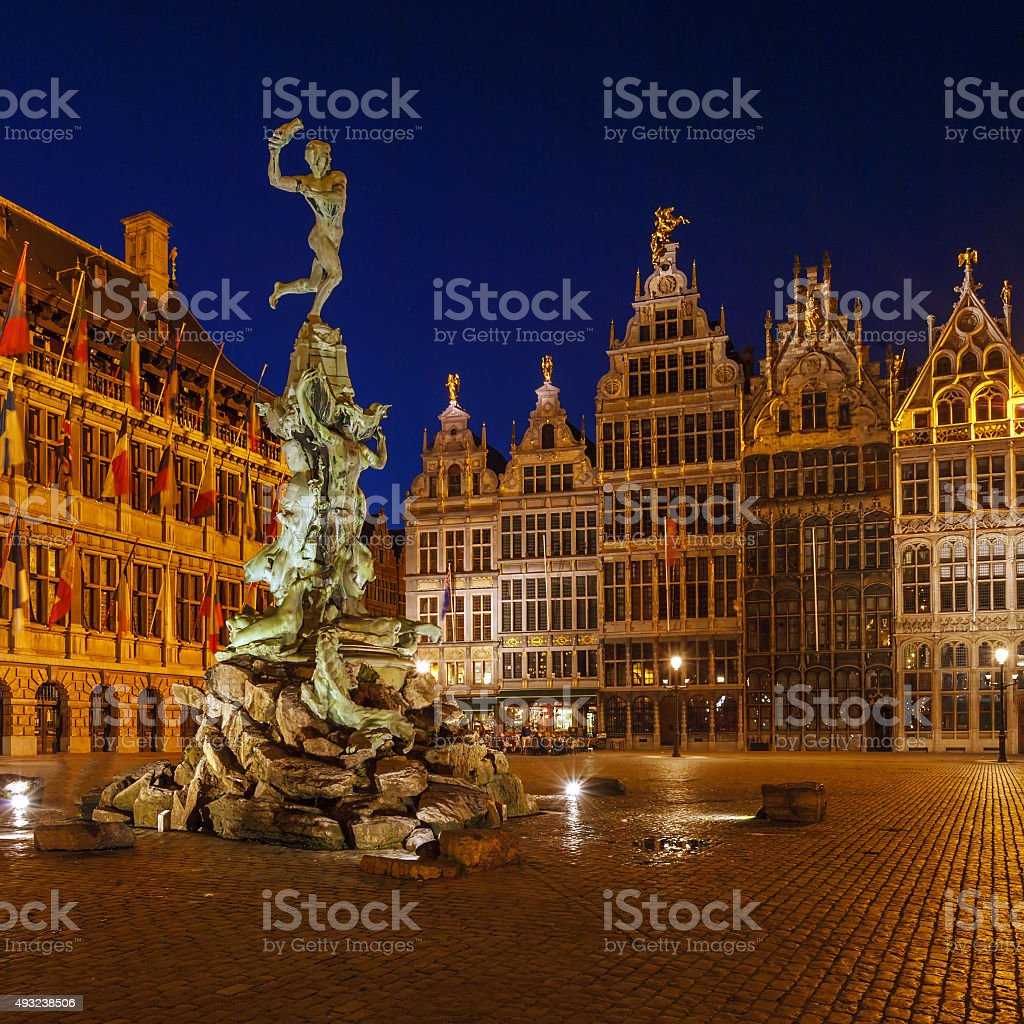 City Hall and Brabo Fountain at Grote Markt, Antwerp stock photo