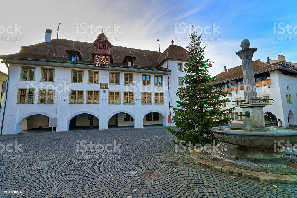City Hall and Christmas tree and Fountain in Thun Square stock photo