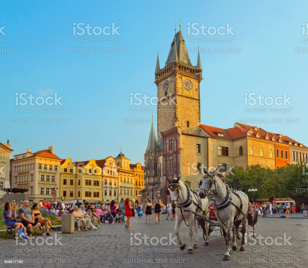 City Hall and horse carriage in Prague, Czech Republic stock photo