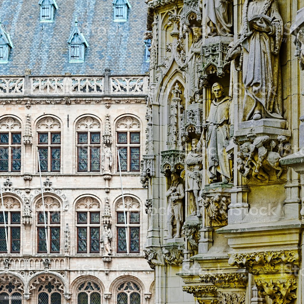 City Hall and St. Peter's Church in Leuven stock photo