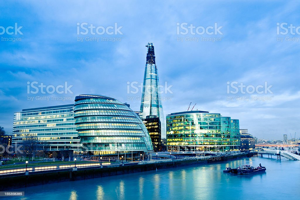 City Hall and the Shard in London royalty-free stock photo