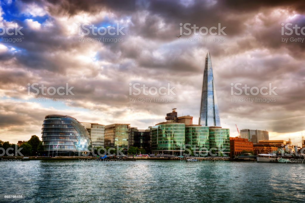 City Hall and the Shard. London, England the UK. River Thames at sunset stock photo