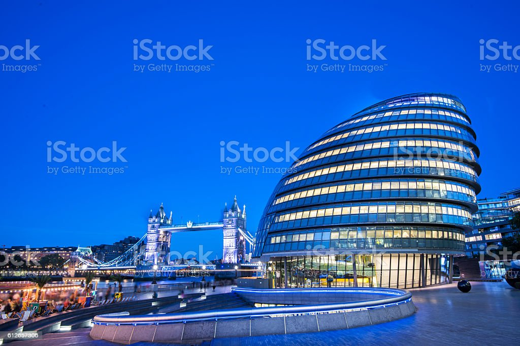 City Hall and Tower Bridge stock photo