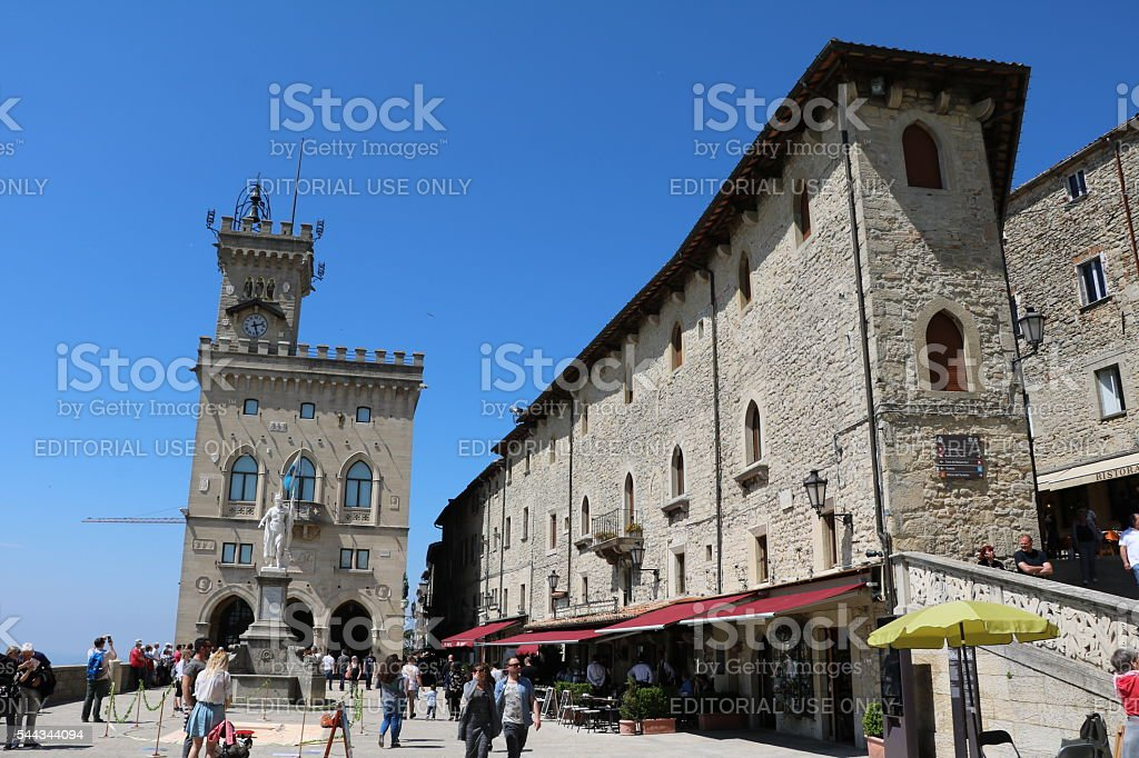 City Hall at Piazza della Libertà, Statue Liberty, San Marino stock photo