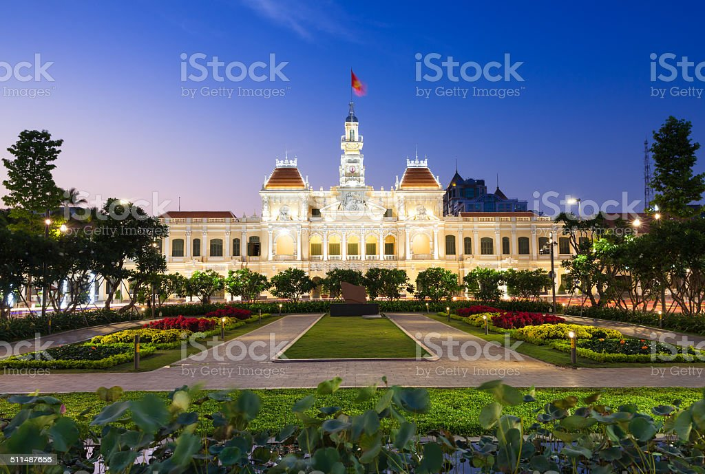 City Hall building at dusk, Ho Chi Minh City stock photo
