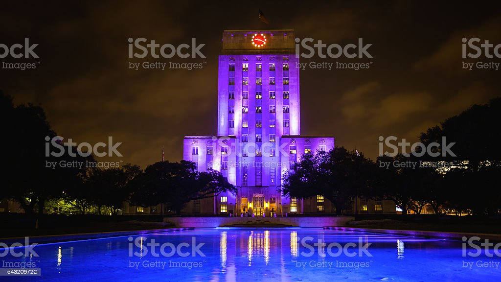 City Hall Building Lit Up at Night in Houston, Texas stock photo