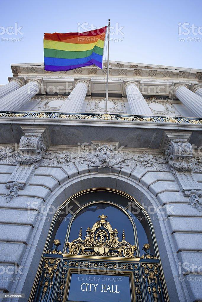 city hall gay rights stock photo