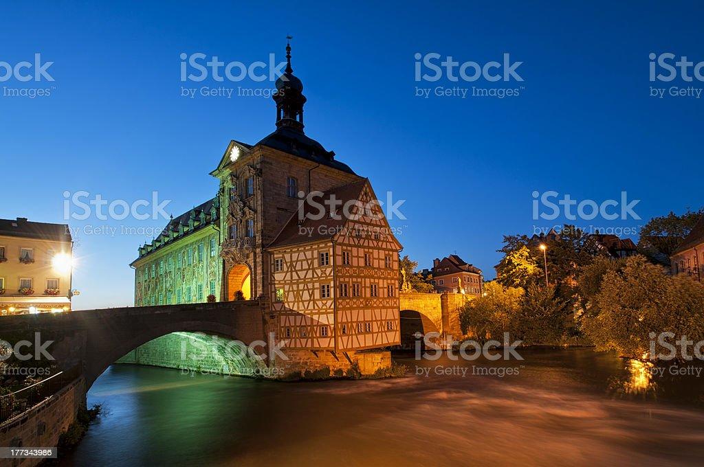 City hall in Bamberg at night. stock photo