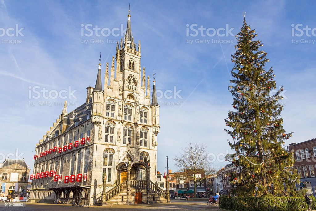 City hall in Gouda, the Netherlands stock photo