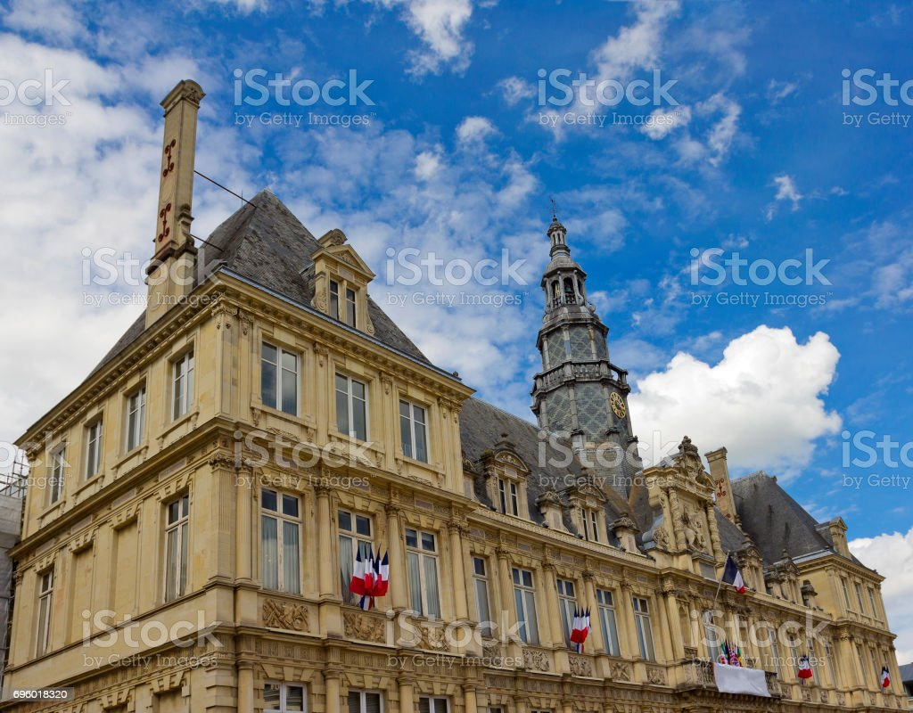 City hall in Reims, France stock photo