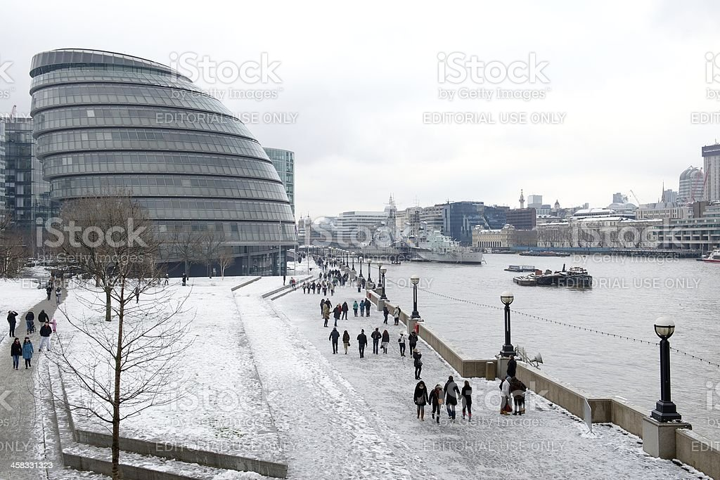 City Hall in the snow, London, UK royalty-free stock photo
