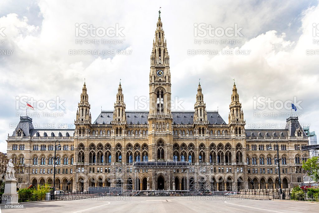 City Hall is the head office of Vienna's municipal administratio stock photo