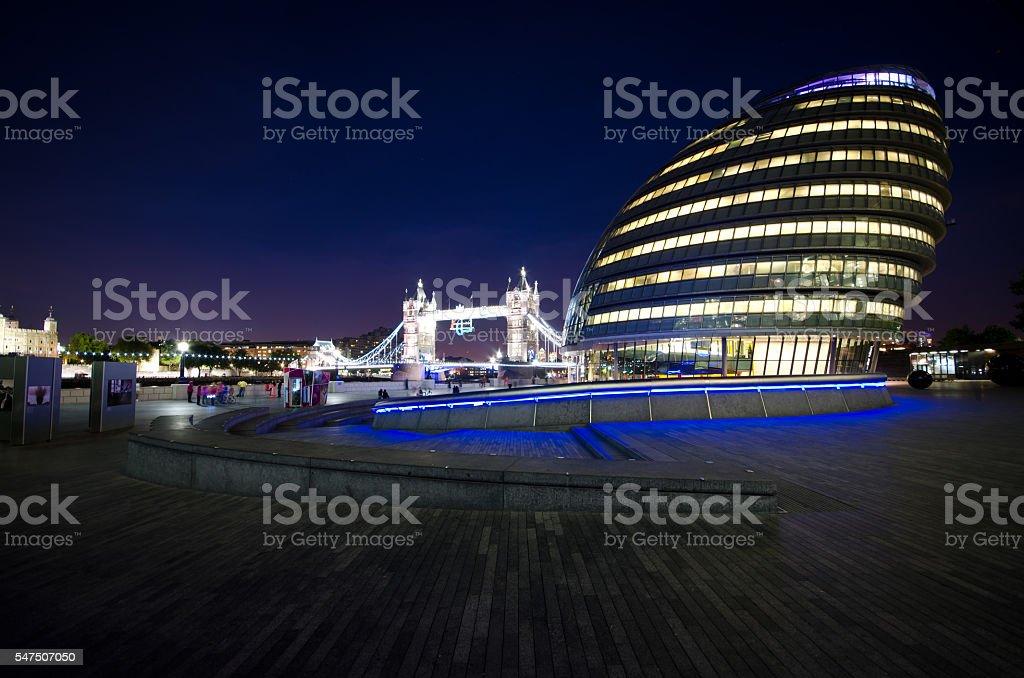 City Hall London at Night stock photo