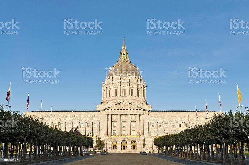 City Hall monumental golden dome San Francisco sunrise California stock photo