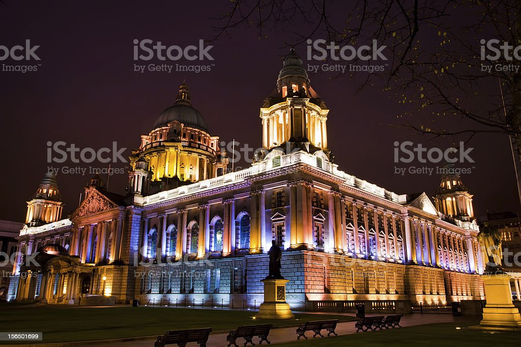 City Hall of Belfast in the night stock photo