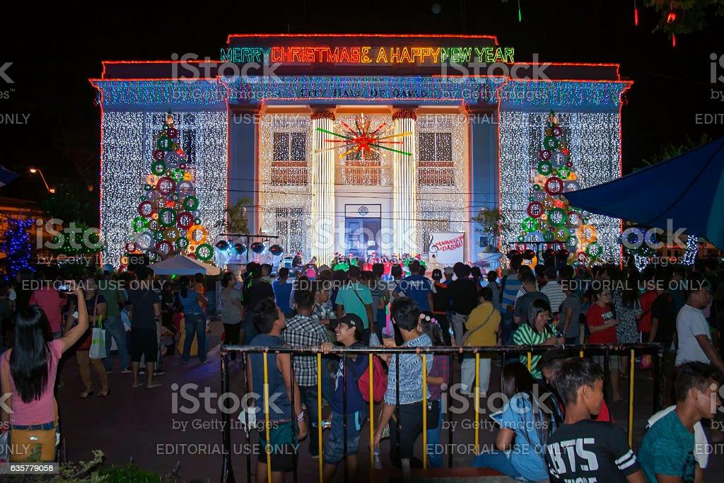 City Hall of Davao City at night 2016 Christmas Season stock photo