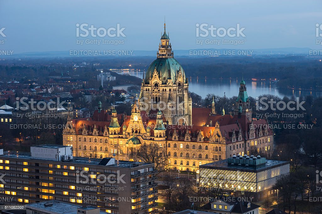 City Hall of Hannover by night stock photo