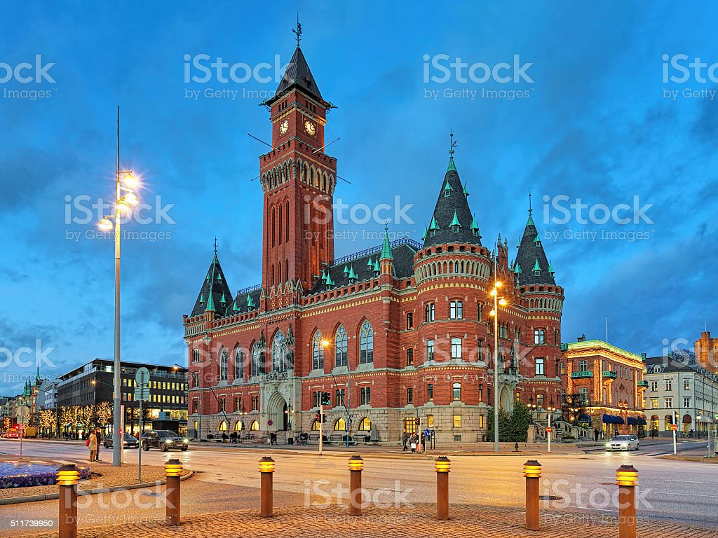 City Hall of Helsingborg in the evening stock photo