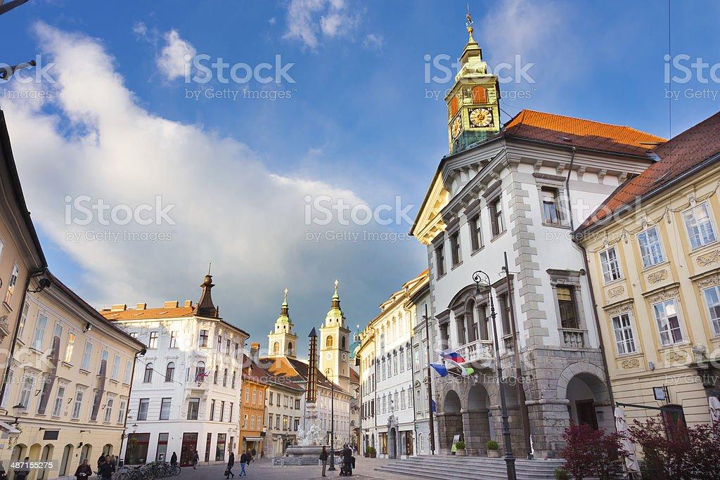 City hall of Ljubljana, Slovenia, Europe. stock photo
