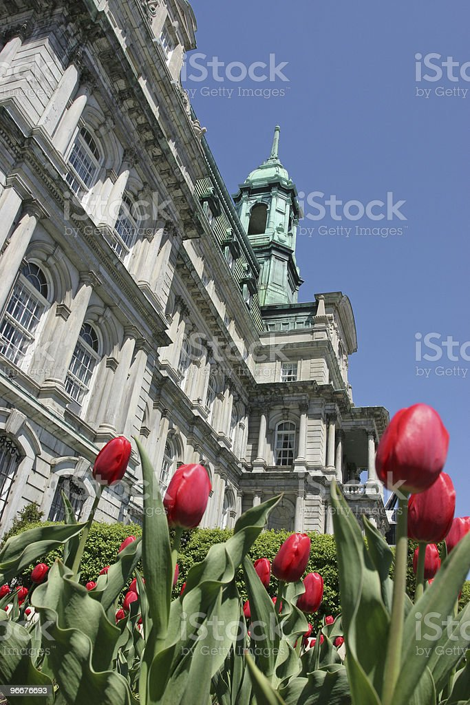 City Hall of Montreal in spring stock photo