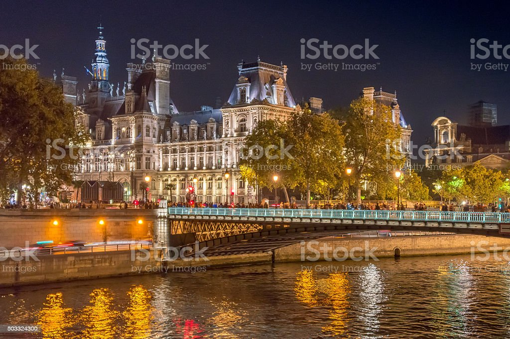 City Hall of Paris, France, in the evening stock photo