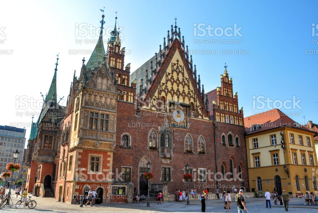City Hall on Market Square in Wroclaw, Poland stock photo