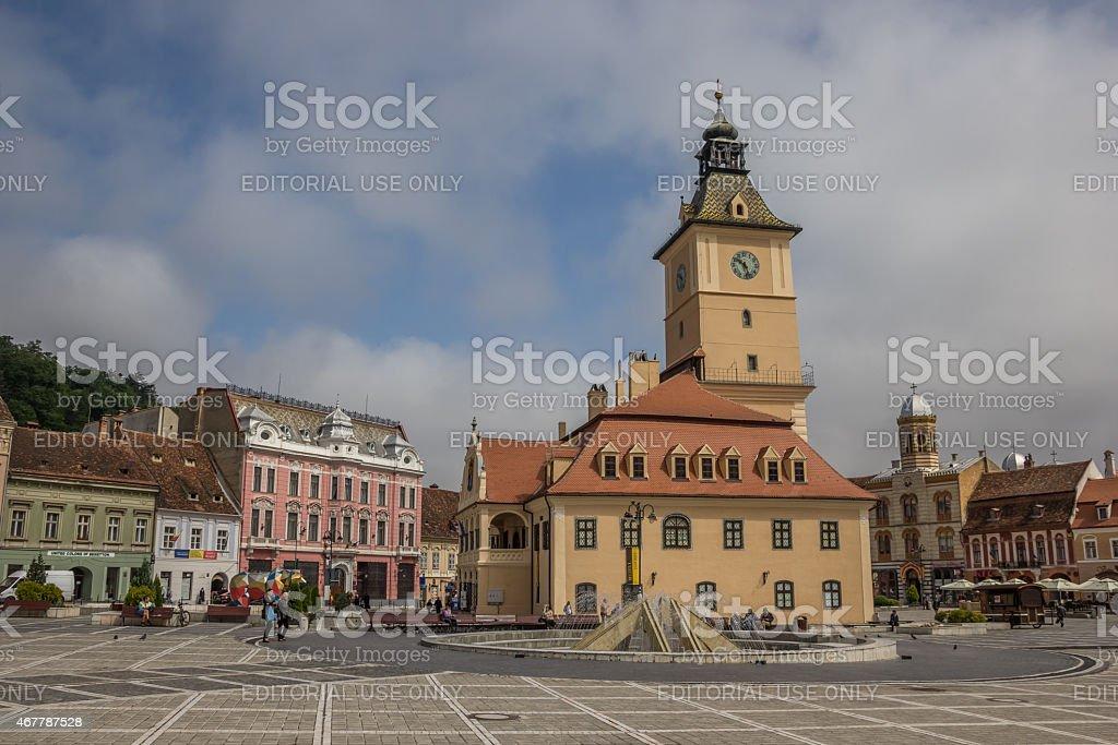 City hall on the Piata Sfatului in Brasov stock photo