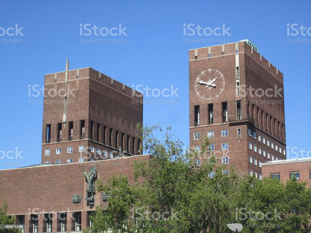 City Hall, Oslo, Norway stock photo