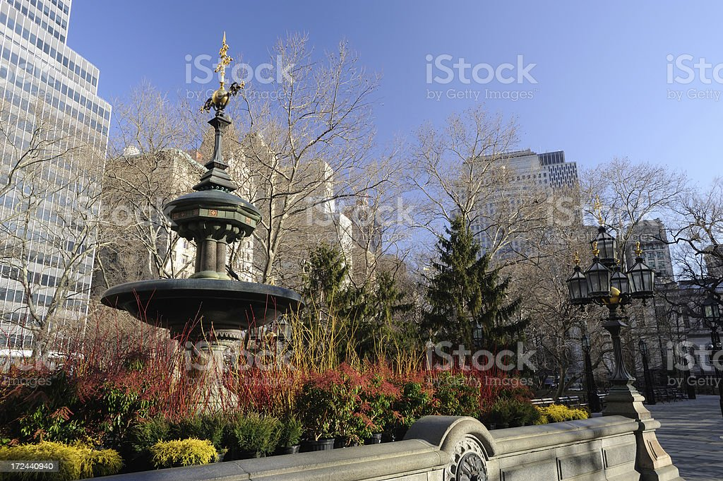City Hall Park in Lower Manhattan royalty-free stock photo