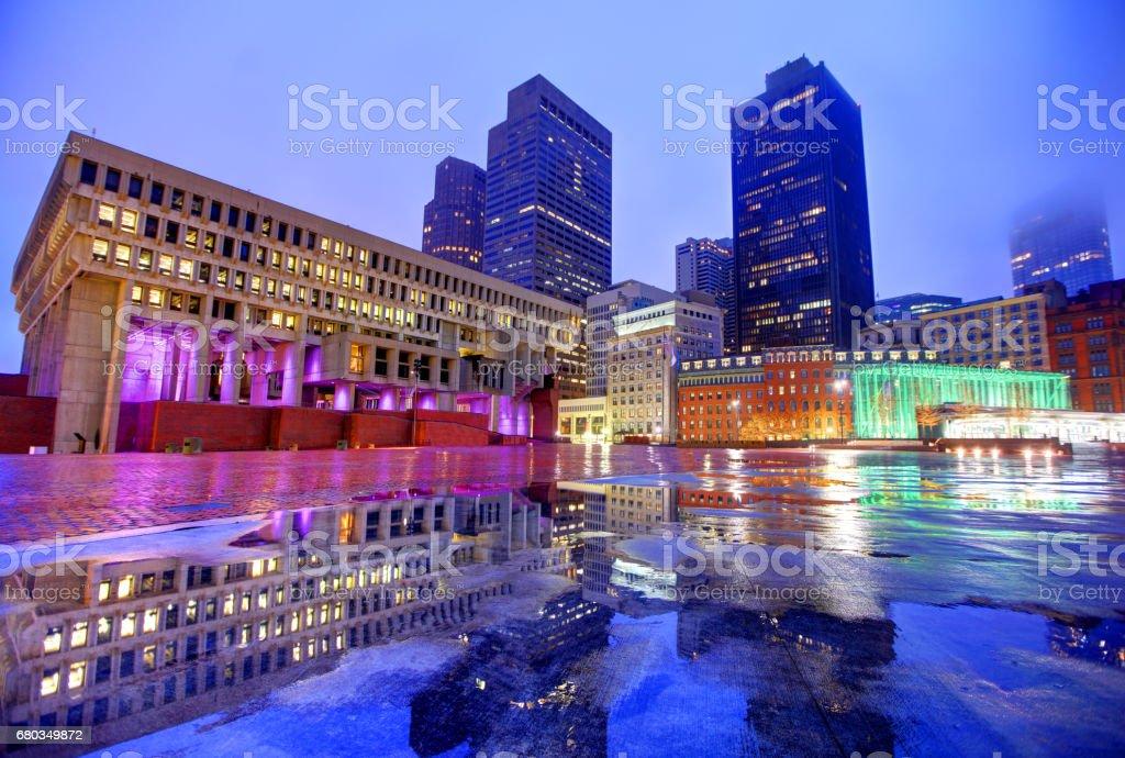 City Hall Plaza in Boston's Government Center stock photo