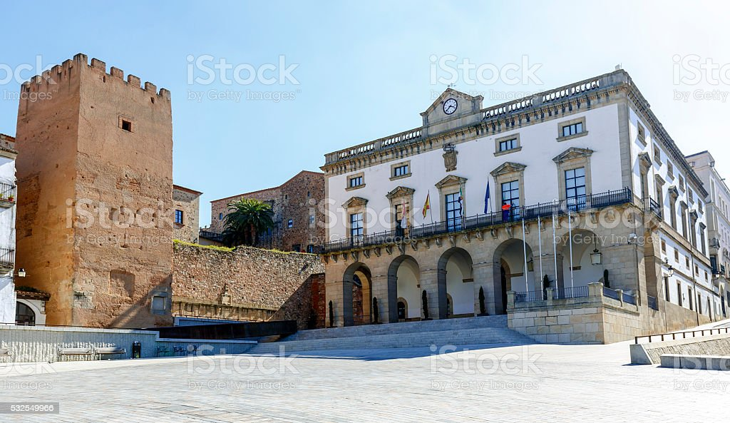 City Hall Plaza Mayor in Caceres stock photo