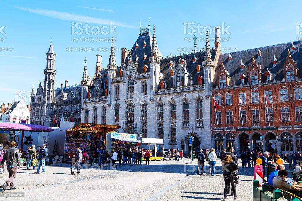 City Hall, Provinciaal Hof in Grote Markt, Brugge stock photo