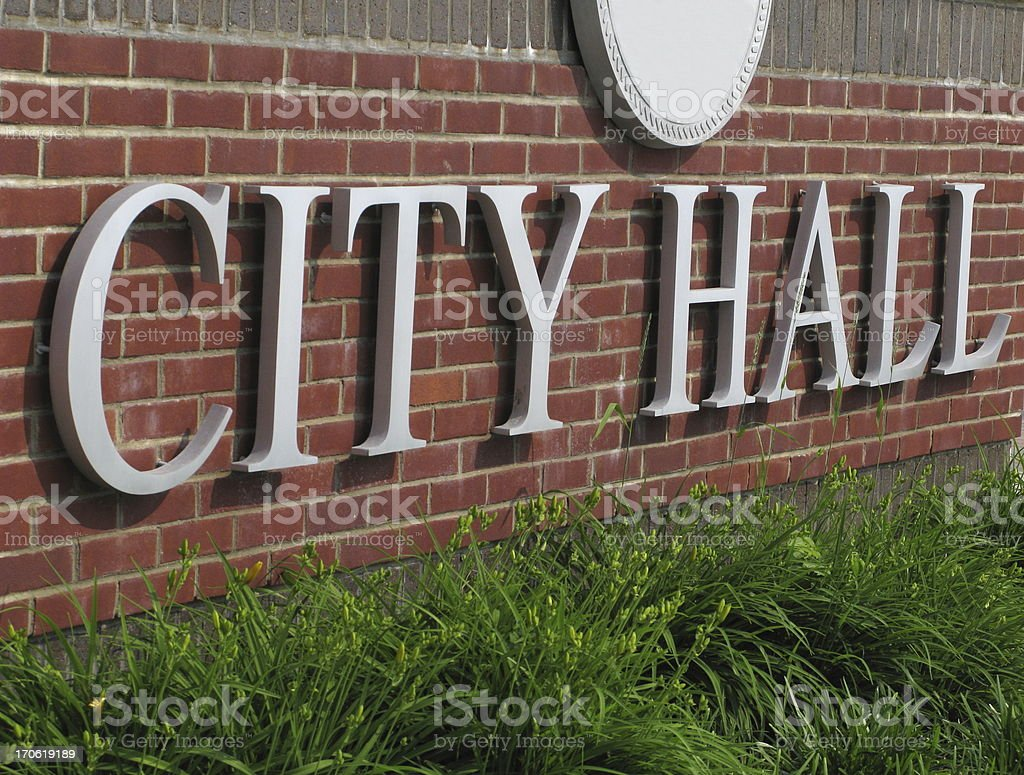 City Hall Sign Brick Wall Close Up stock photo