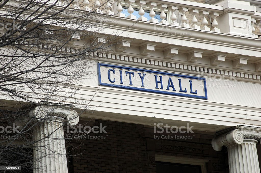 City Hall sign on a fancy building stock photo