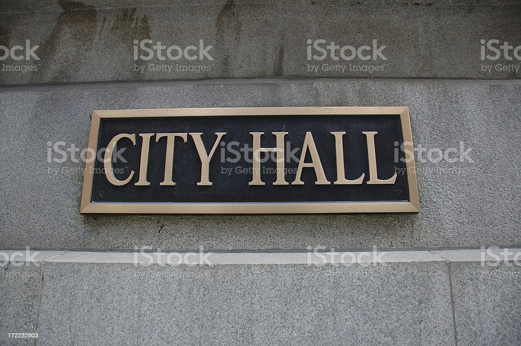 City Hall sign stock photo