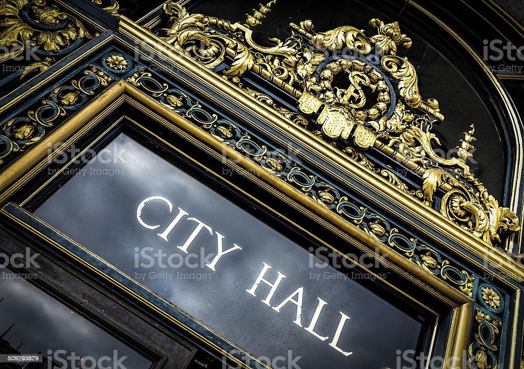 City Hall Sign stock photo