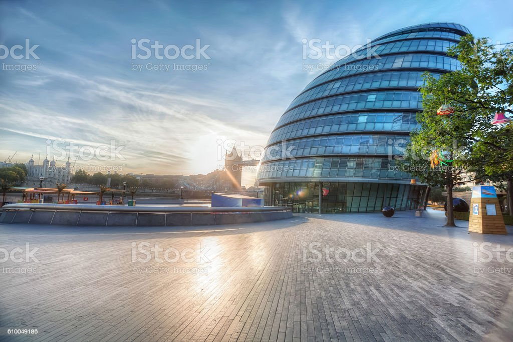 City Hall Sunrise. stock photo