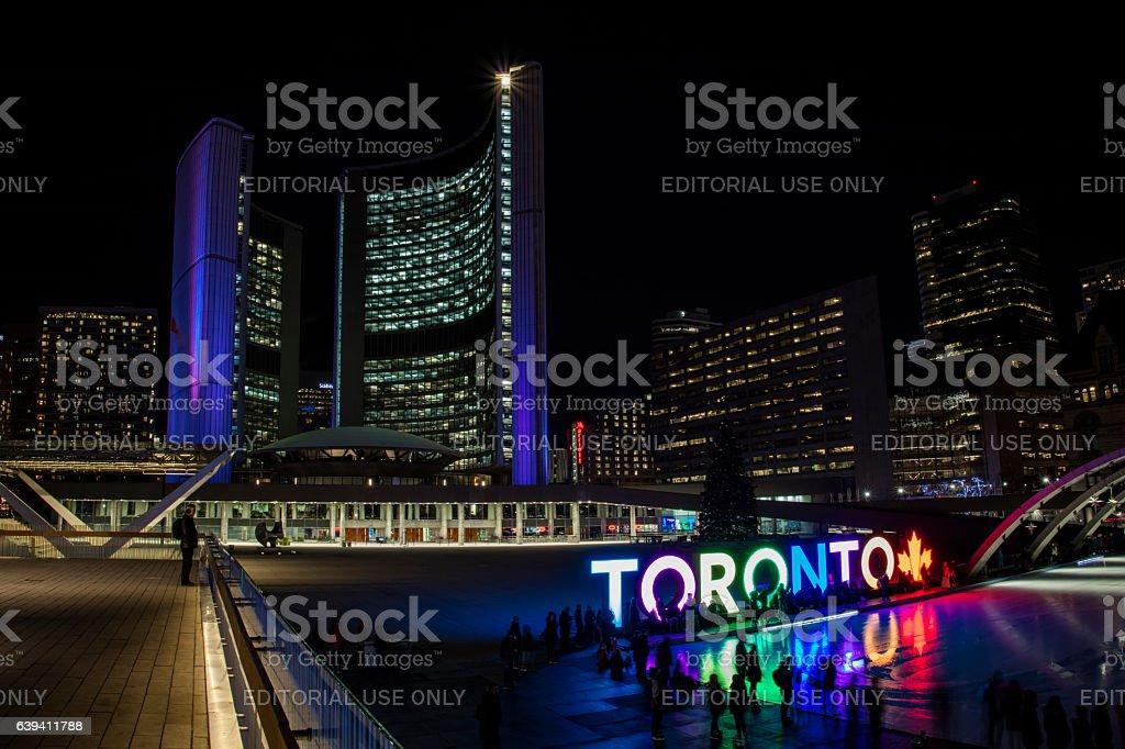 City Hall Toronto Sign stock photo