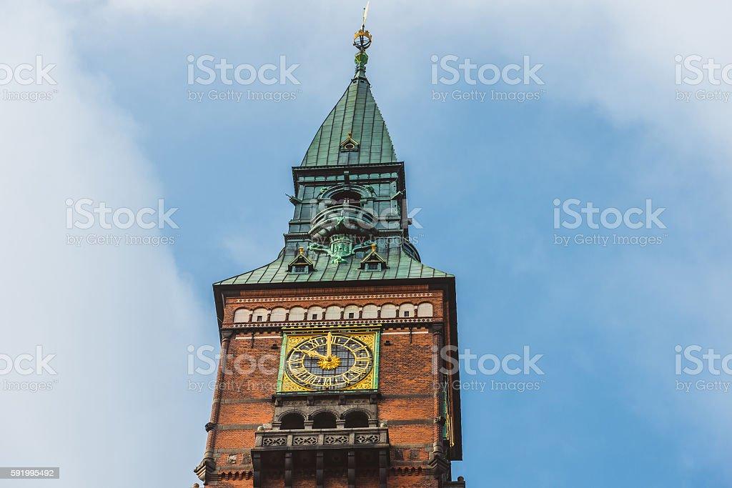 City Hall Tower in Copenhagen stock photo