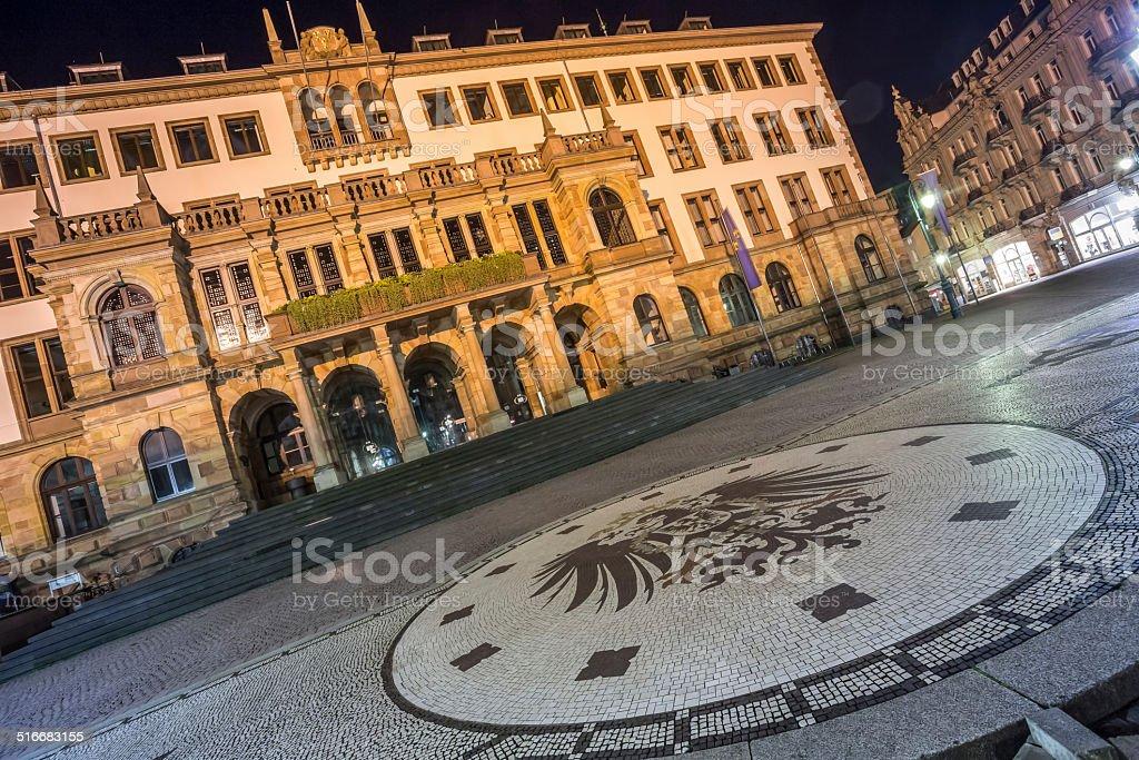 city hall wiesbaden at night stock photo