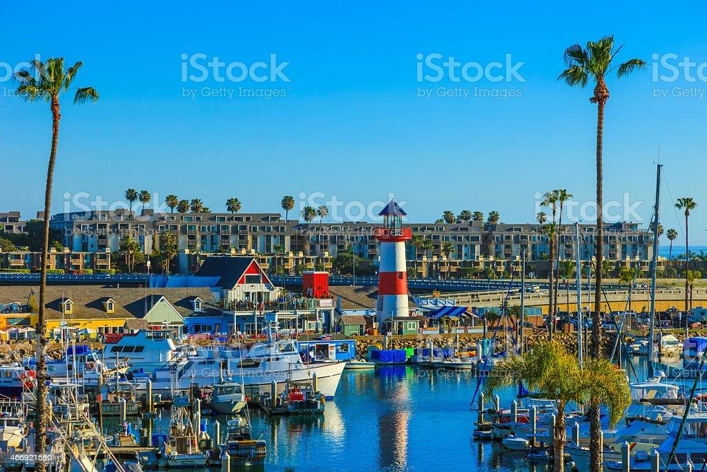 City Harbor of Oceanside harbor,lighthouse,boats,ocean, Calif. stock photo