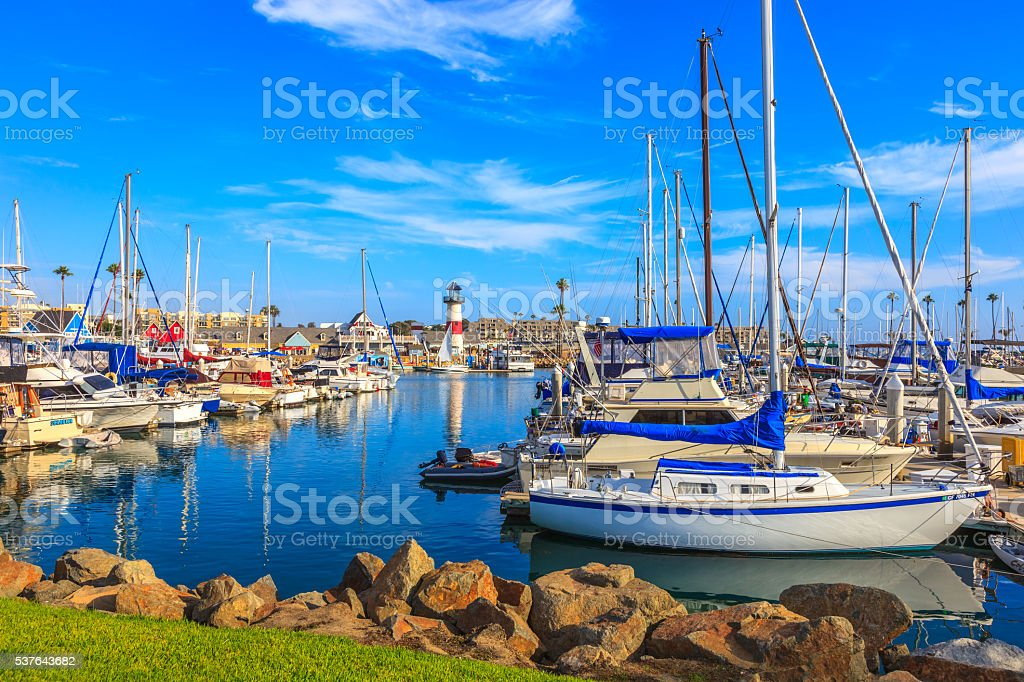City Harbor of Oceanside with recreational boats, Calif. stock photo