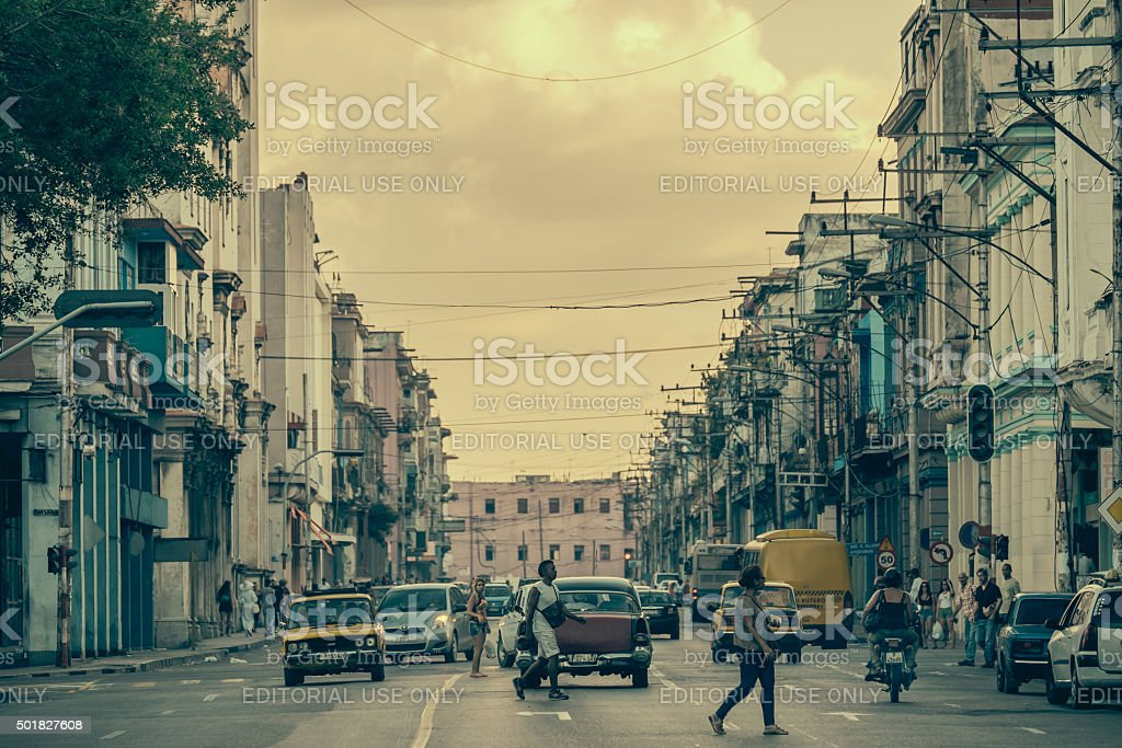 City hustle on Calzada De Infanta stock photo