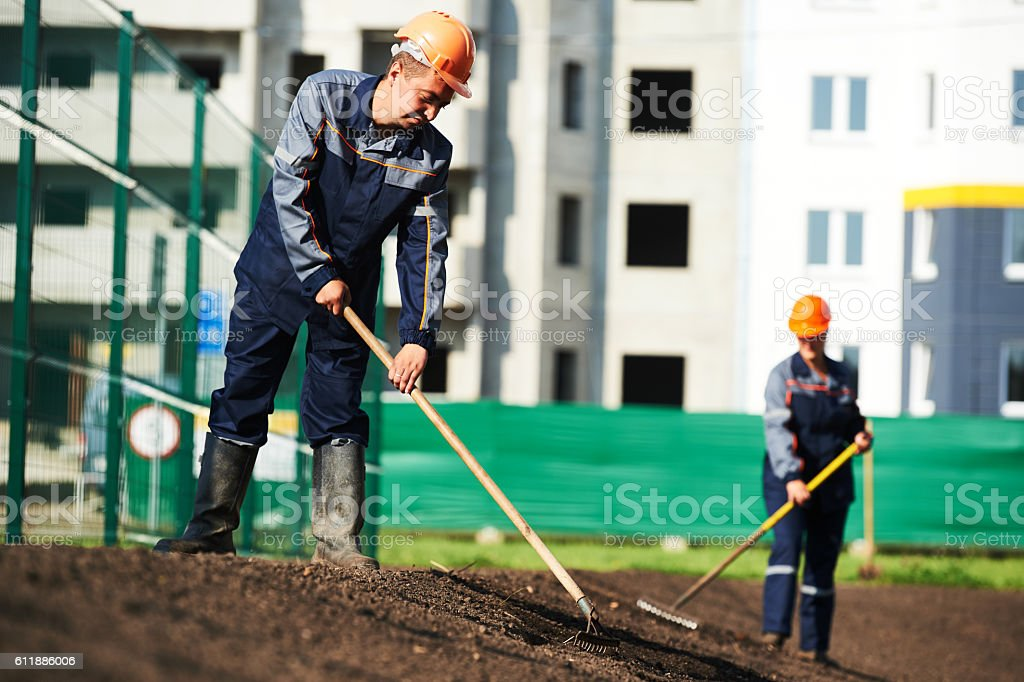 city improvement, landscaping and urban beautification stock photo
