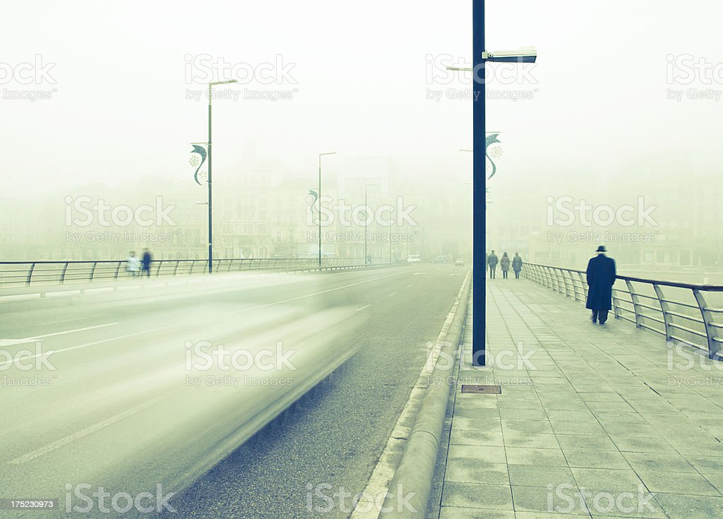 City in a Foggy Day royalty-free stock photo