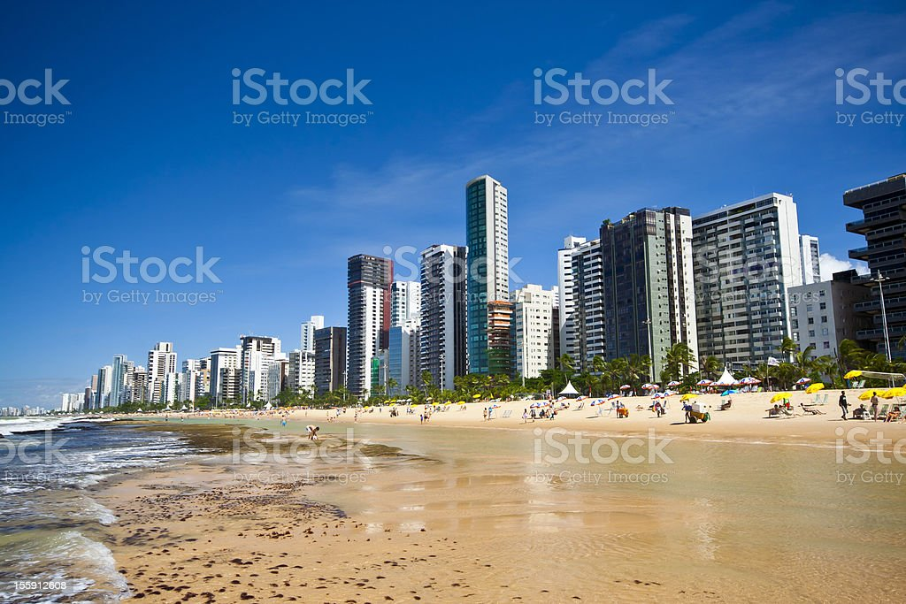 City in Brazil with sand on the beach stock photo