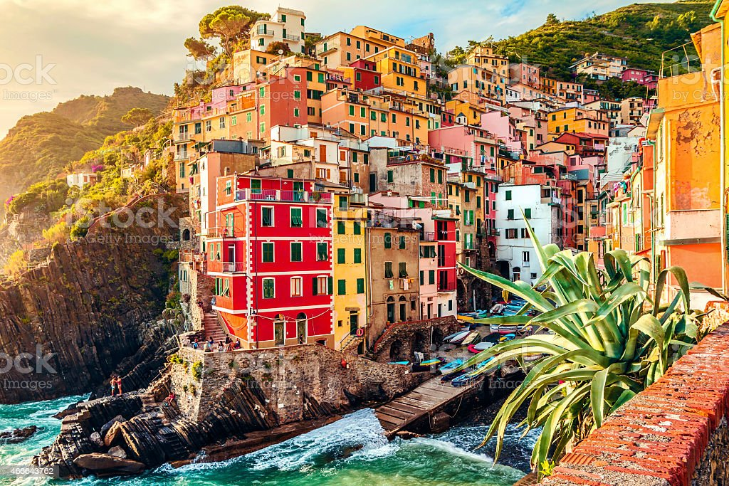 City in Italy with buildings on the coast stock photo
